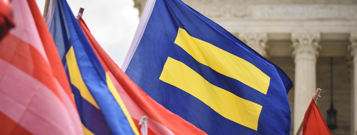 Image of a flag waved by Pro-LGBT equality protesters