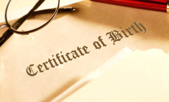 Image of a birth certificate