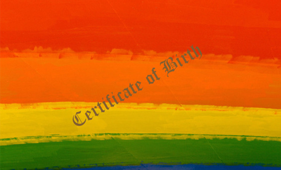LGBT image indicating Certificate of Birth
